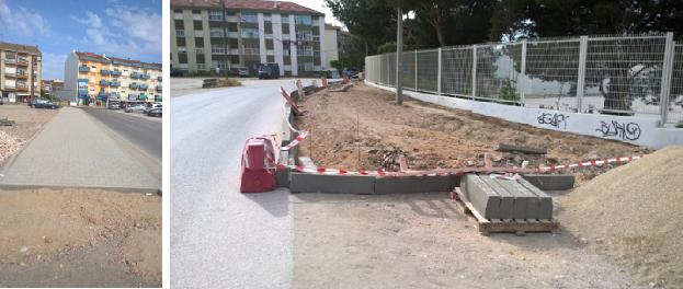 Construção do passeio na Rua S Tomé e Príncipe