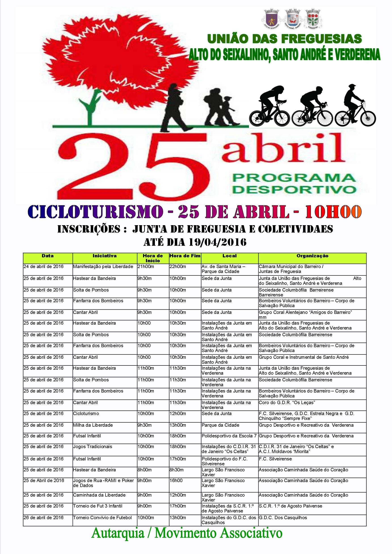 Programa Desportivo - Cicloturismo - 25 de Abril - 10 h